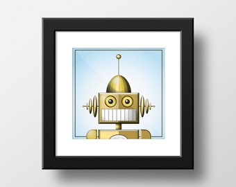 Square Golden Robot Head Shot on a Blue Background Digital Download Print / 3 Sizes included