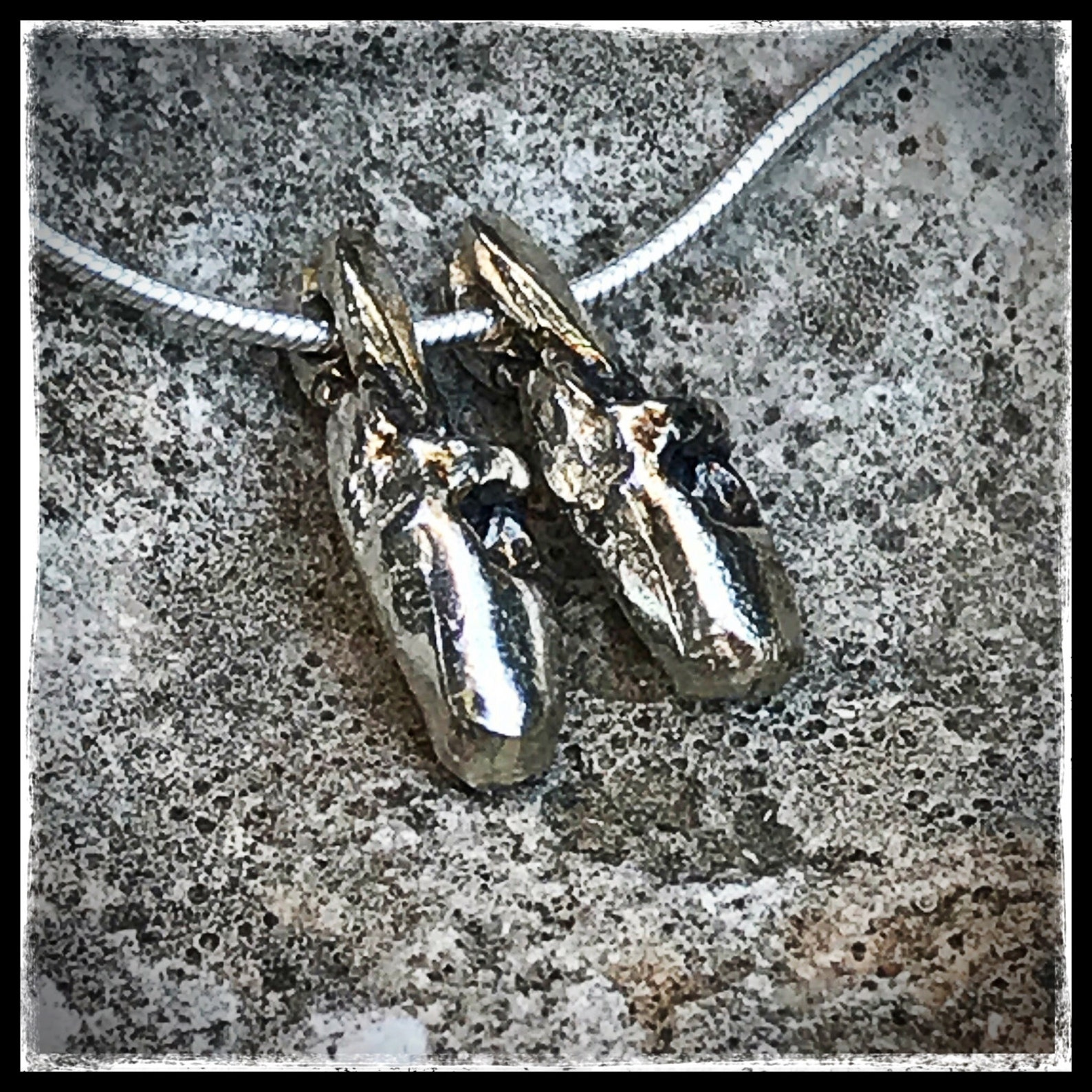 silver ballerina pendant. silver ballerina necklace. silver ballet shoes pendant. silver necklace ballet shoes.