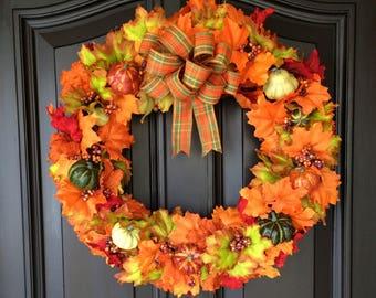 Front Door Wreath, Fall Wreath, Fall Decorations, Leaf Wreath, Thanksgiving Wreath, Thanksgiving Decor, Pumpkin Wreath, Autumn Wreath