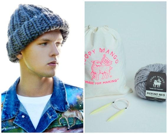 13587278381 Loopy Mango DIY Kit His Beanie Chunky Merino Wool