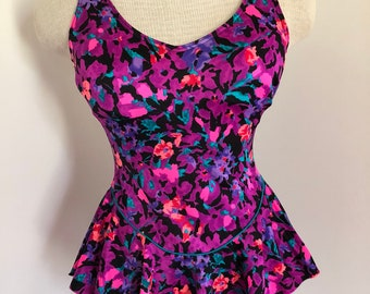 80's 90's Bright Floral Skirted Maillot by Body I.D.  fits like Medium