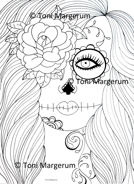 Erwachsenen Färbung Seite Sugar Skull Girl Kunst Tag der