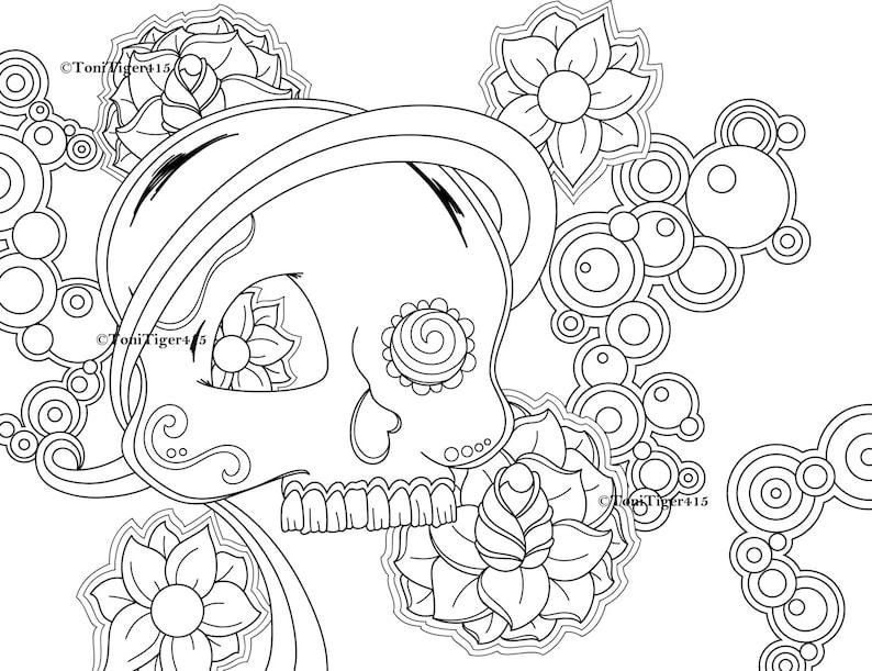 Skull Coloring Page, Sugar Skull Coloring Page, Digital Download, Adult Coloring Page, Digital Coloring Book, Skull with Circles, Skull Art