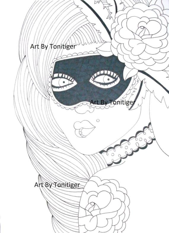 Maskerade Mädchen Ausmalbilder Sofortiger Digital Download Etsy