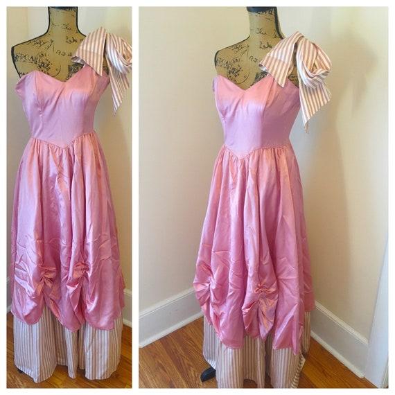 Vtg 80s Gunne Sax RARE Pink Princess Strapless Sat