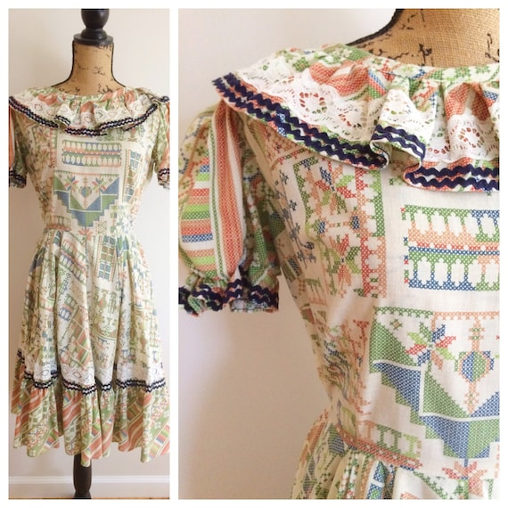 60s Ruffle Square Dance Abstract Printed Dress