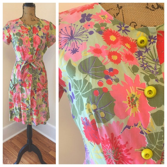 40s Saybury Colorful Floral Button Sundress