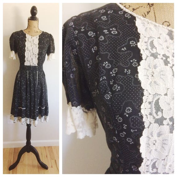 60s Kate Schorner Prairie Calico Lace Dress