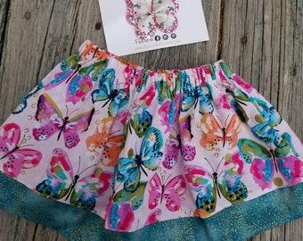 Girls Butterfly Skirt / Watercolor butterflies / Girls birthday skirt / Gold glitter