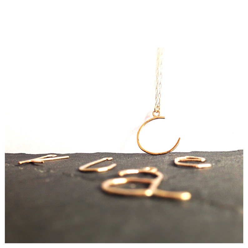 14K Solid Gold 14K Gold Initial Necklace Oversize Initial Necklace