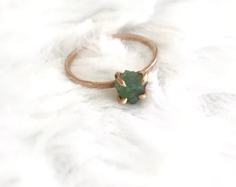 Emerald Ring, Promise Ring, Emerald Engagement Ring, Raw Gemstone Ring, Anniversary Ring, Emerald Jewelry, Engagement Ring