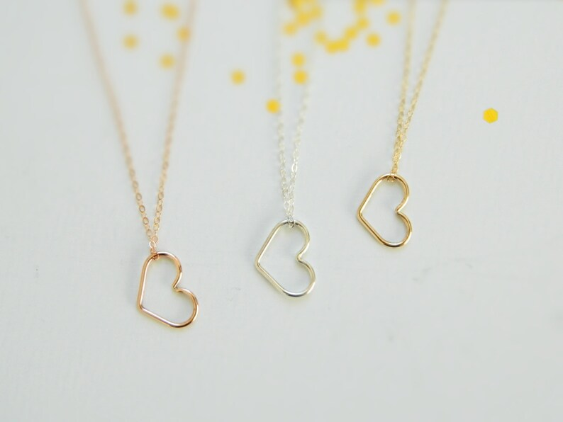 Minimalist Necklace 14K Gold Heart Necklace Heart Charm Heart Pendant Necklace Gold Heart Necklace