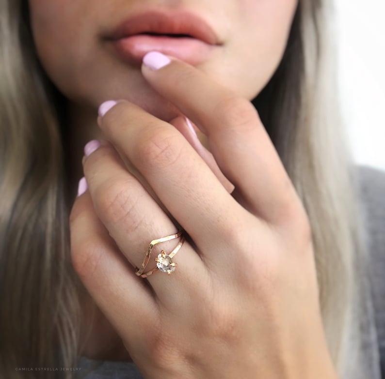 Diamond Engagement Ring April Birthstone Herkimer Diamond Ring