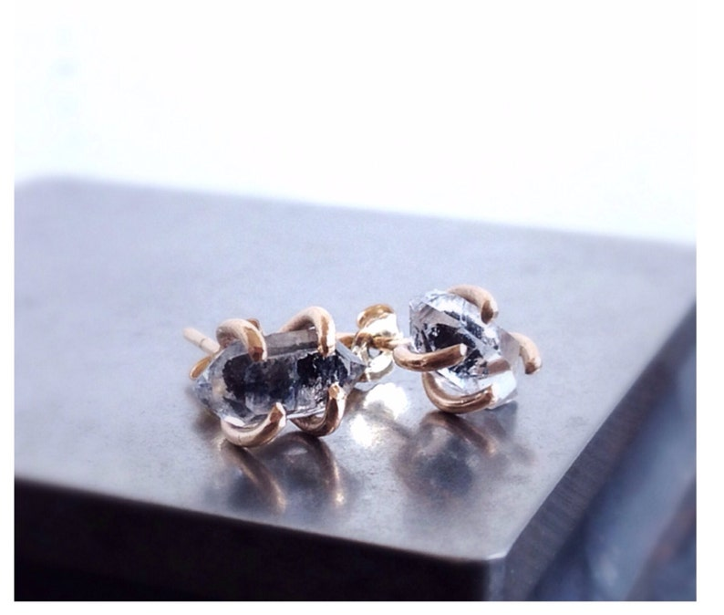 Gold Stud Earrings Herkimer Diamond Earrings Black Diamond Earrings