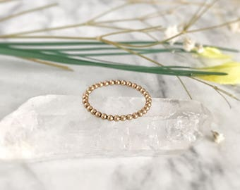 14K Gold Ring, Stackable Ring, Promise Ring, Minimalist Ring, Stacking Ring, Beaded Ring, Simple Ring, Stacked Ring, 14K Rose Gold