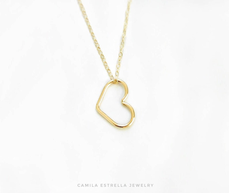 386c1bbbddeb Heart Necklace Heart Pendant Necklace 14K Gold Heart