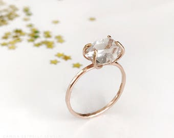 14K Gold Engagement Ring, Solitaire Ring, Rose Gold Engagement, Gold Engagement Ring, 14K Rose Gold, Herkimer Diamond