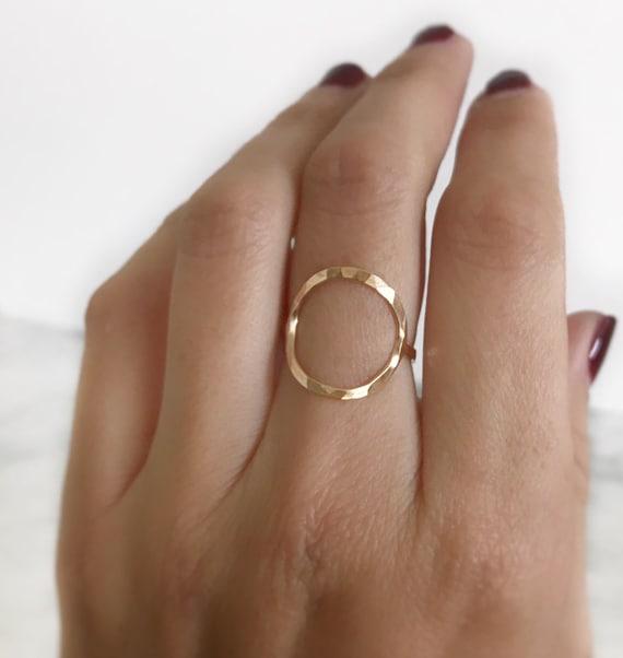 Sterling Silver Trendy Ring Geometric Circular Link Dainty