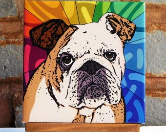 modern folk art gift dog bulldog coaster dog tile bather Bulldog TILE- bathroom art dog art bulldog art