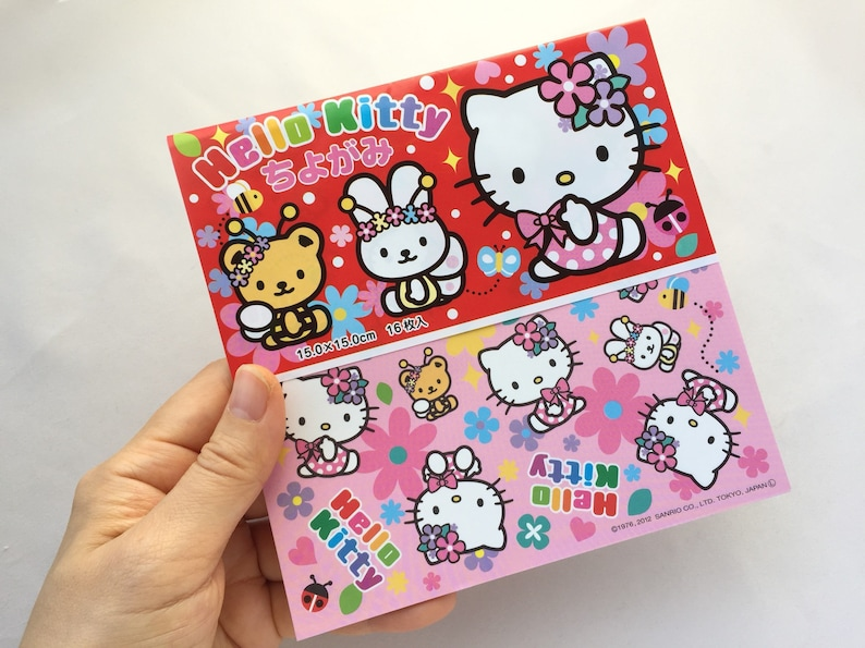 16 Sheets Of Hello Kitty Origami Paper Sanrio 6 Square Chiyogami