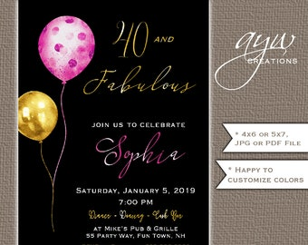 01ae2b1d1410 40th Birthday Party Invitation for a Woman - Metallic Balloons 40 and  Fabulous Birthday Party Invites - Formal Pink Gold Black