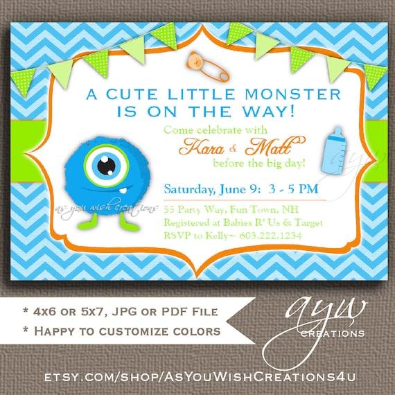 One Eyed Monster Baby Shower Invitation Boy Printable Digital File