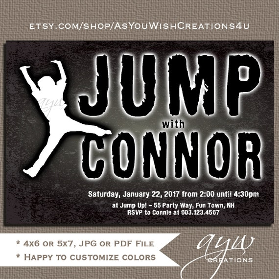 Jump Birthday Party Invitations For Boy Or Girl Great A Trampoline Park On Chalkboard Background