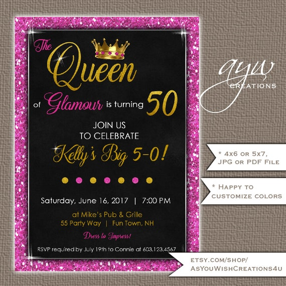 50th birthday party invitations for the woman who is the queen of