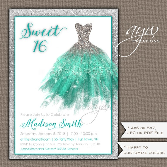 Glamorous Sweet Sixteen Birthday Party Invitations Turquoise Silver