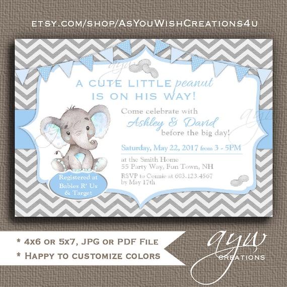 Elephant Baby Shower Invitation Boy Little Peanut Etsy