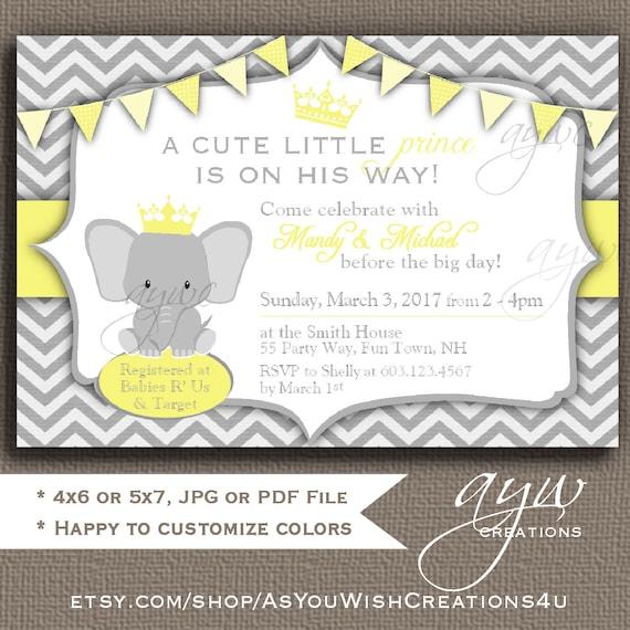 Elephant Baby Shower Invitation, Gender Neutral