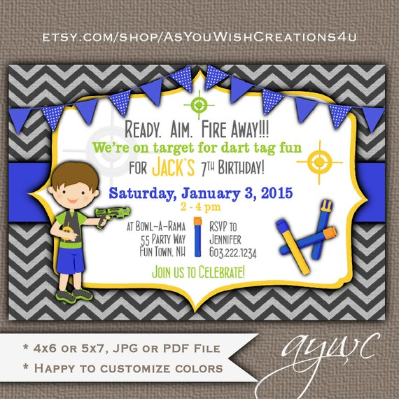 Dart Tag Birthday Party Invitation For A Boy Or Girl On Chevron Background Printable Digital File