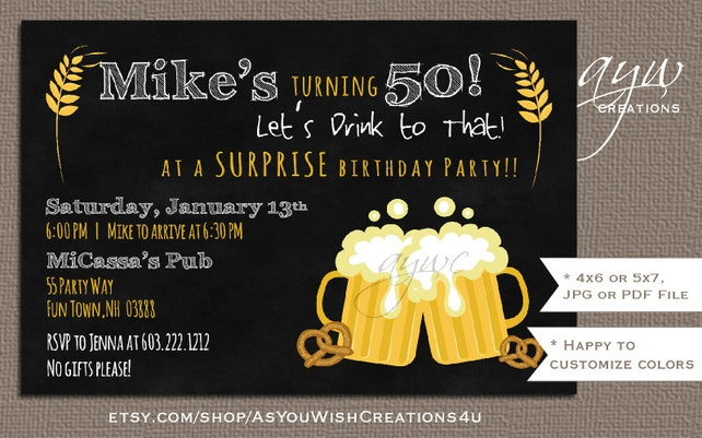 50th Birthday Party Invitation For Man Printable Cheers And Beers Invites Chalkboard