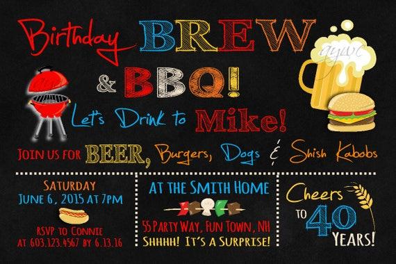 50th Birthday Invitation Brew And BBQ Printable Man Beer Invites Barbecue Invite
