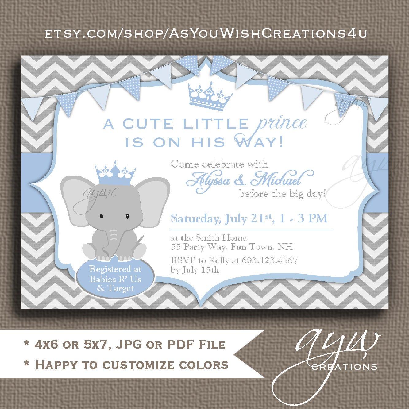Elephant Baby Shower Invitation Boy Prince Baby Shower