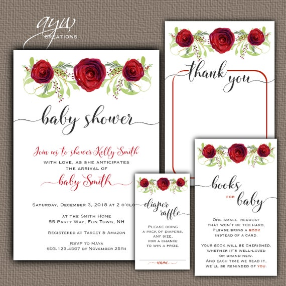 flowers baby shower invitation and matching decor package diaper