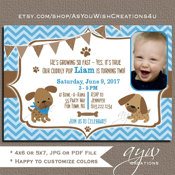 Dog Birthday Party Invitations Boy Puppy Invites 1st First Chevron Blue Brown Photo Card ANY AGE