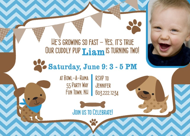 Dog Birthday Party Invitations Puppy Invites 2nd Second Boy Chevron Photo Card