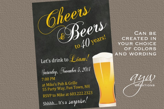 40th Birthday Party Invitations Cheers And Beers