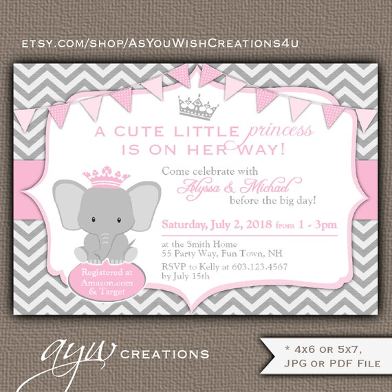 Elephant Baby Shower Invitation Girl Princess Baby Shower Etsy