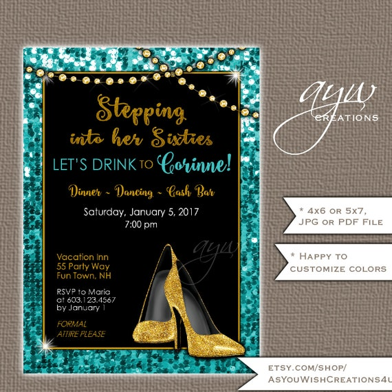 High Heels 60th Birthday Party Invitation For The Woman Who Is Stepping Into Her Sixties