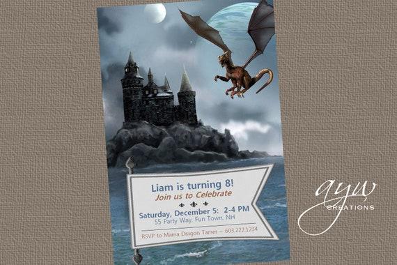 dragon birthday party invitation printable dragon invitations castle
