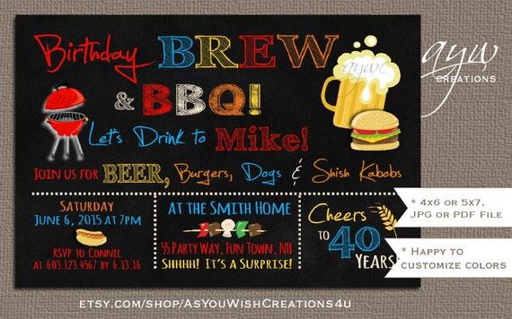 50th Birthday Invitation Brew And BBQ Printable