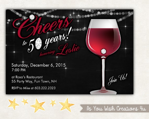 Cheers To 50 Years 50th Birthday Party Invitation For The Woman Who Is Fifty And Fabulous