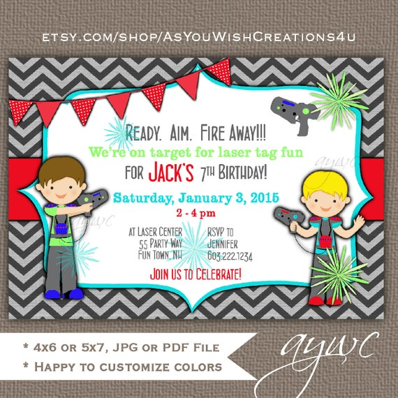 graphic relating to Printable Laser Tag Birthday Invitations known as Laser Tag Birthday Invitation Boy - Printable Laser Tag