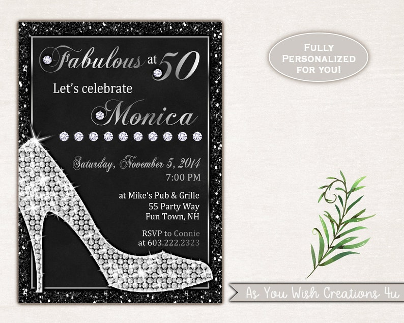 Heels 50th Birthday Party Invitation For The Woman Who Is Fifty And Fabulous