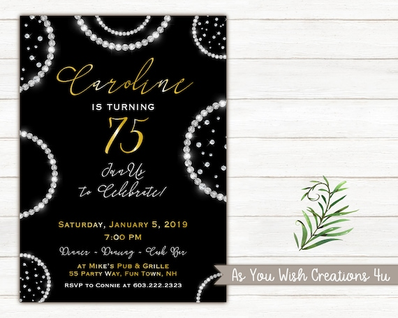 75th Birthday Party Invitation For A Woman Diamonds Bling