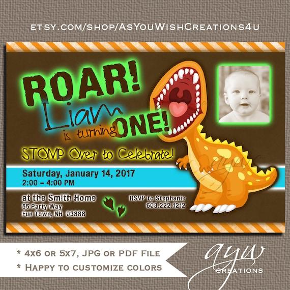 dinosaur first birthday invitation dinosaur party invitations etsy