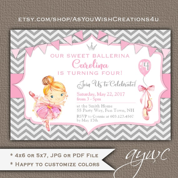 4th Birthday Party Invitation Ballerina Invitations Girl Printable Dance Invite Age 4