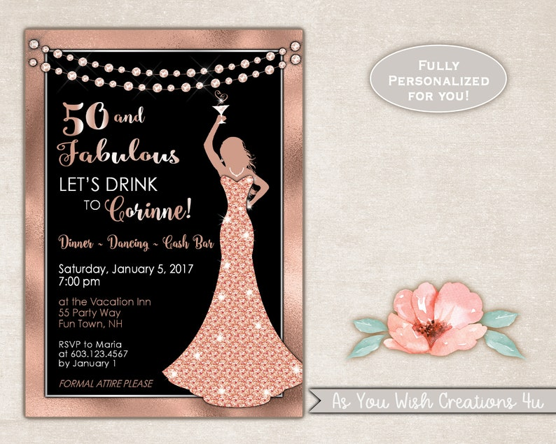 50th Birthday Party Invitation For Woman In Rose Gold